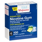 Walgreens Nicotine Coated Gum 4 mg, White Ice- 100 ea