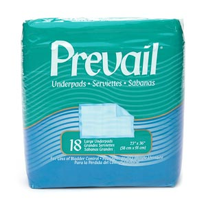 Prevail Underpads, Large 23 x 36 Inches- 18 ea