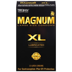 Trojan Lubricated Latex Condoms, Magnum XL, Extra Large- 12 ea