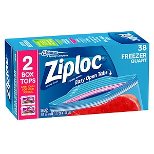 Ziploc Double Zipper Freezer Bags Value Pack,, Quart Size