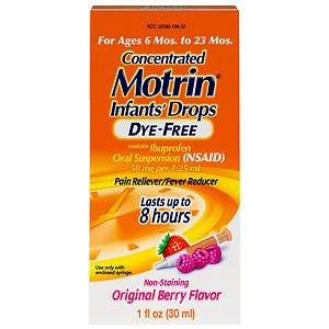 Infants' Motrin Ibuprofen Oral Suspension, Concentrated Drops, Dye-Free Drops, Berry- 1 fl oz