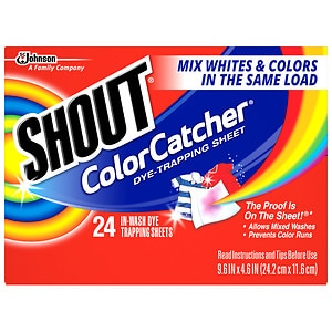 Shout Color Catcher Dye-Trapping, In-Wash Cloths- 24 ea