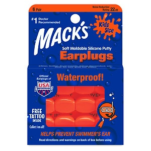 Mack's Kids Size Soft Moldable Silicone Ear Plugs- 6 pr
