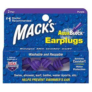 Mack's AquaBlock Earplugs, Purple- 2 pr