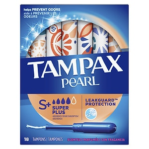 Tampax Pearl Tampons with Pearl Plastic Applicator, Fresh Scent, Super Plus, 18 ea- 1 box