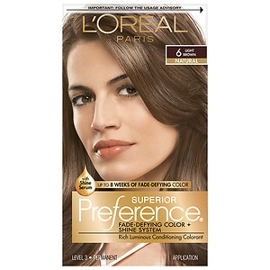 L'Oreal Paris Superior Preference Fade Defying Color & Shine System, Permanent, Light Brown 6, 1 ea
