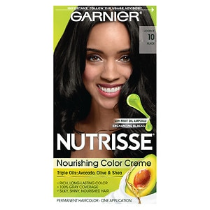 Garnier Nutrisse Level 3 Permanent Creme Haircolor, Black 10 (Black Licorice)