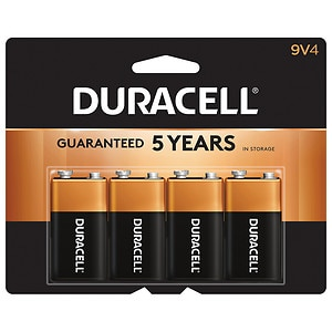 Duracell Coppertop Alkaline Batteries, 9v