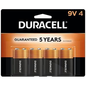 Duracell CopperTop 9V Alkaline Batteries- 4 ea