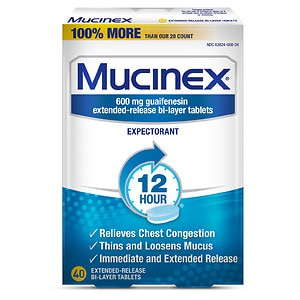 Mucinex Expectorant, 600mg Extended-Release Bi-Layer Tablets- 40 ea
