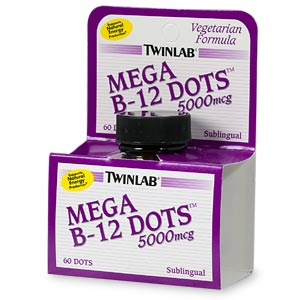Twinlab Mega B-12 Dots, 5000mcg, Sublingual- 60 ea