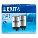 Brita On Tap Faucet Water Filter System Replacement Filters , Chrome- 2 ea