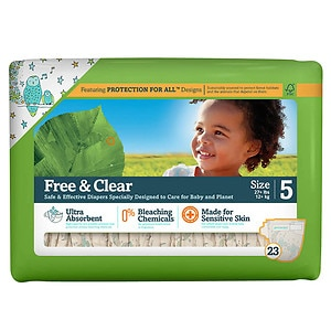 Seventh Generation Baby Free & Clear Diapers, Stage 5, 27+ lbs- 92 ea