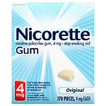 Nicorette Nicotine Gum, 4 mg, Original