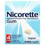 Nicorette Nicotine Gum, 4mg, Original- 170 ea