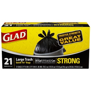 Glad Strong Quick-Tie Large Trash Bags,  30 Gallon,  21 ea